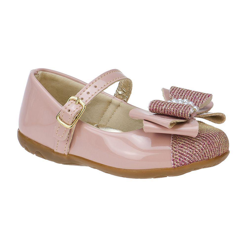 Sapatilha Menina Fashion Infantil Feminina bebê laço strass glitter 129.04.002   Rosa