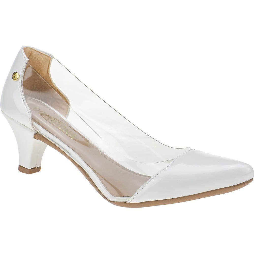 Scarpin Feminino Lateral Transparente Domidona Salto Baixo 135.01.001 | Branco