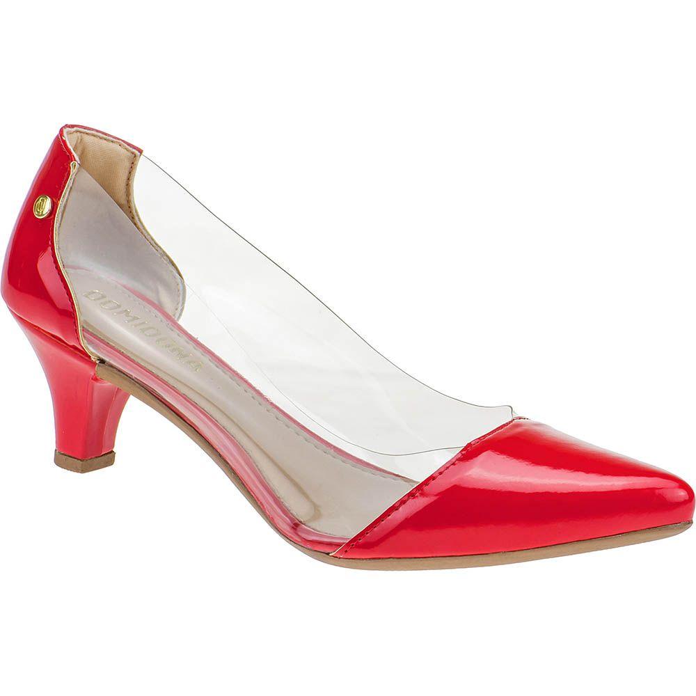 Scarpin Feminino Lateral Transparente Domidona Salto Baixo 135.01.012 | Vermelho