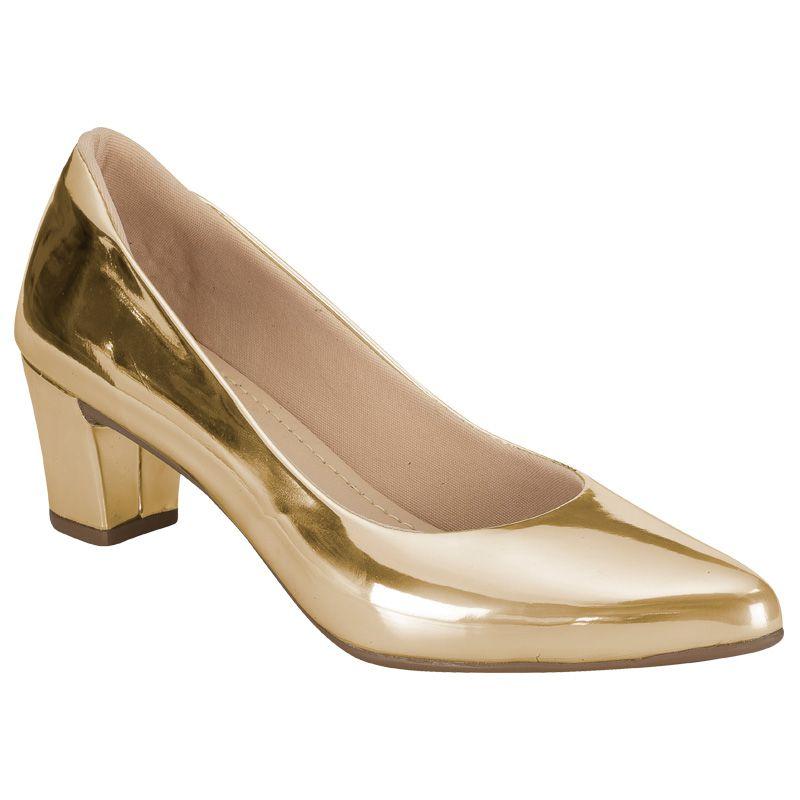 Scarpin Salto Grosso 120.01.033 | Dourado