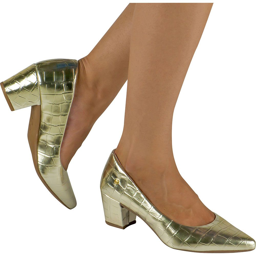 Scarpin Salto Grosso Feminino Croco Domidona 120.19.033   Dourado