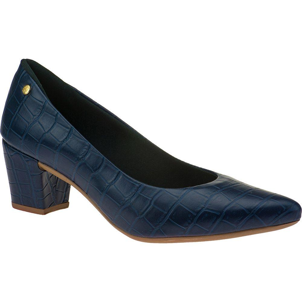 Scarpin Salto Grosso Feminino Croco Domidona 120.19.040 | Azul Marinho