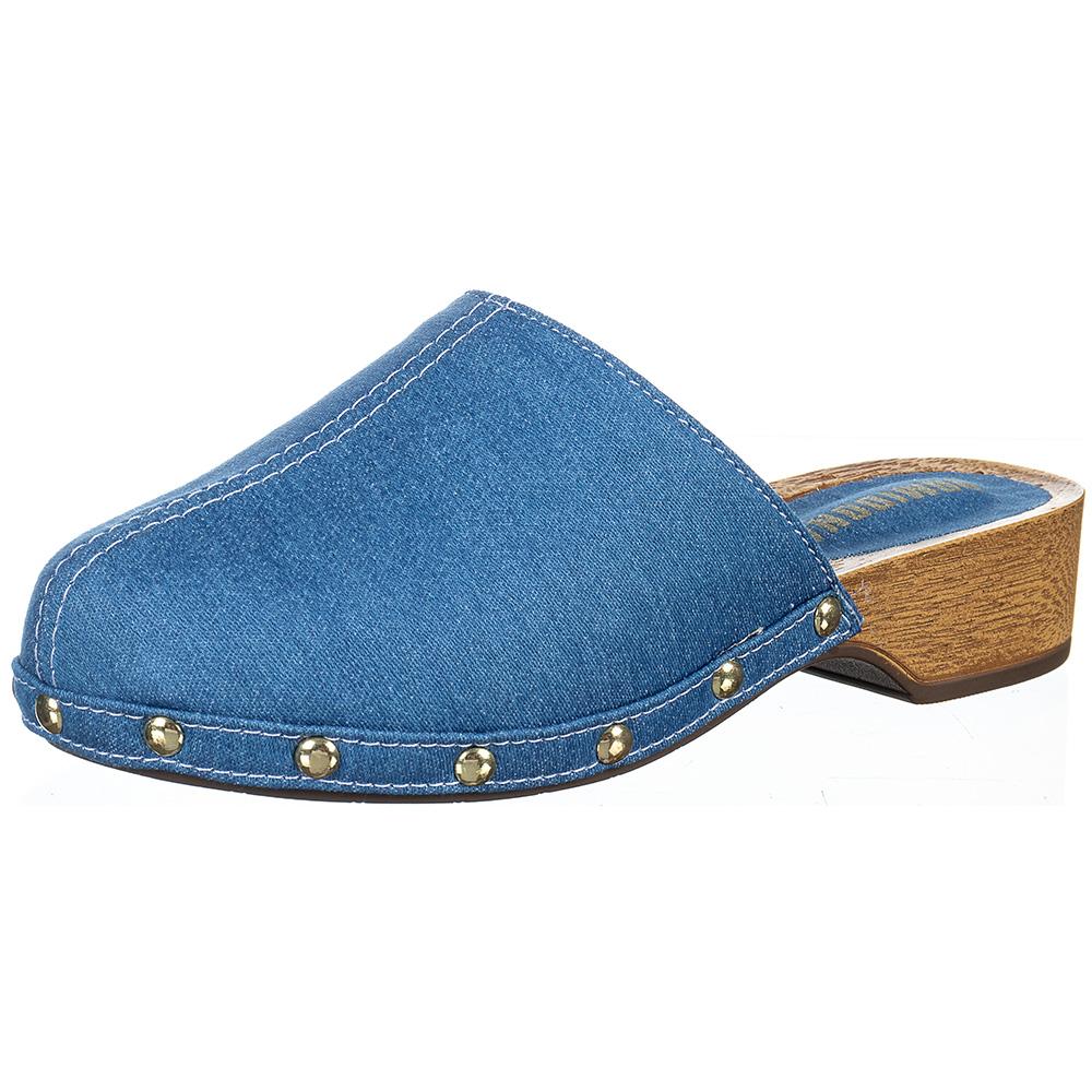 Tamanco Feminino Fechado Clog Salto Madeira Domidona 161.03.031   Jeans Azul