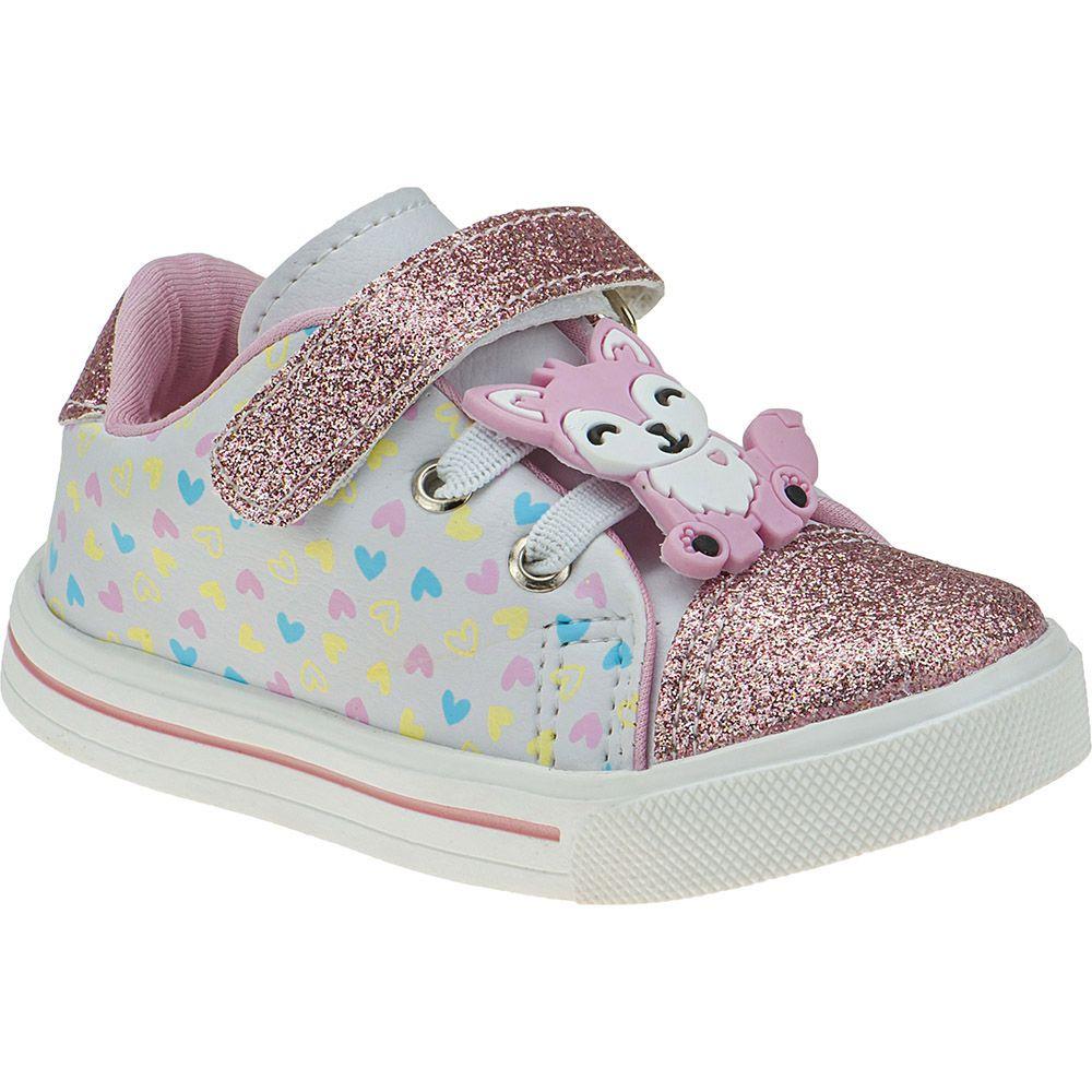Tênis Bebê Elástico Menina Fashion Velcro Corações Raposa Glitter 157.38.001 | Branco