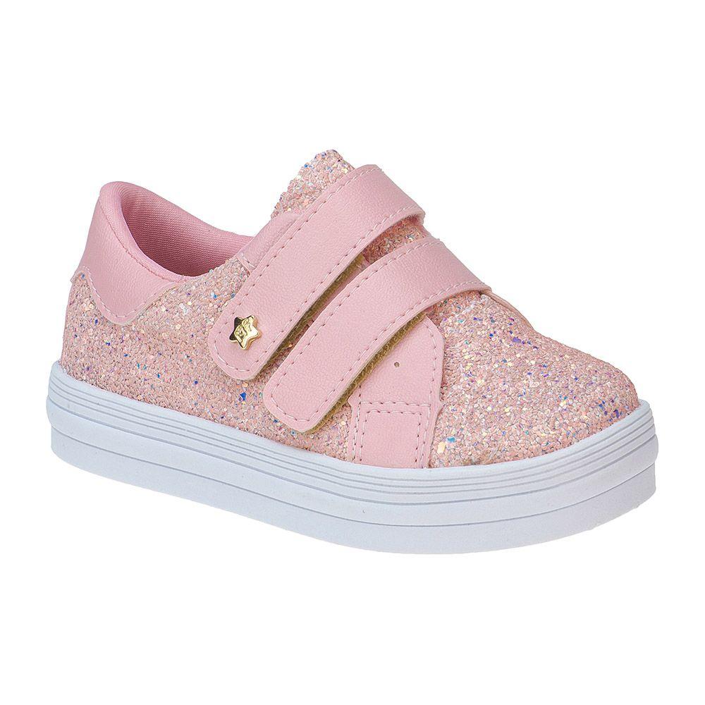 Tênis Bebê Menina Fashion Infantil Feminino Glitter Estrela 157.32.002 | Rosa
