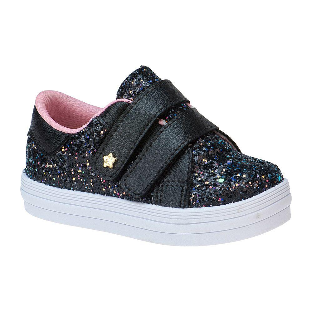 Tênis Bebê Menina Fashion Infantil Feminino Glitter Estrela 157.32.009 | Preto