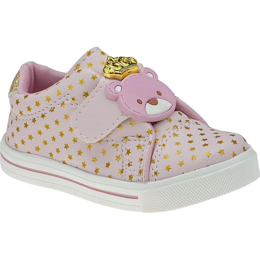 Tênis Bebê Velcro Menina Fashion Urso Princesa Coroa Estrelas 157.41.002   Rosa