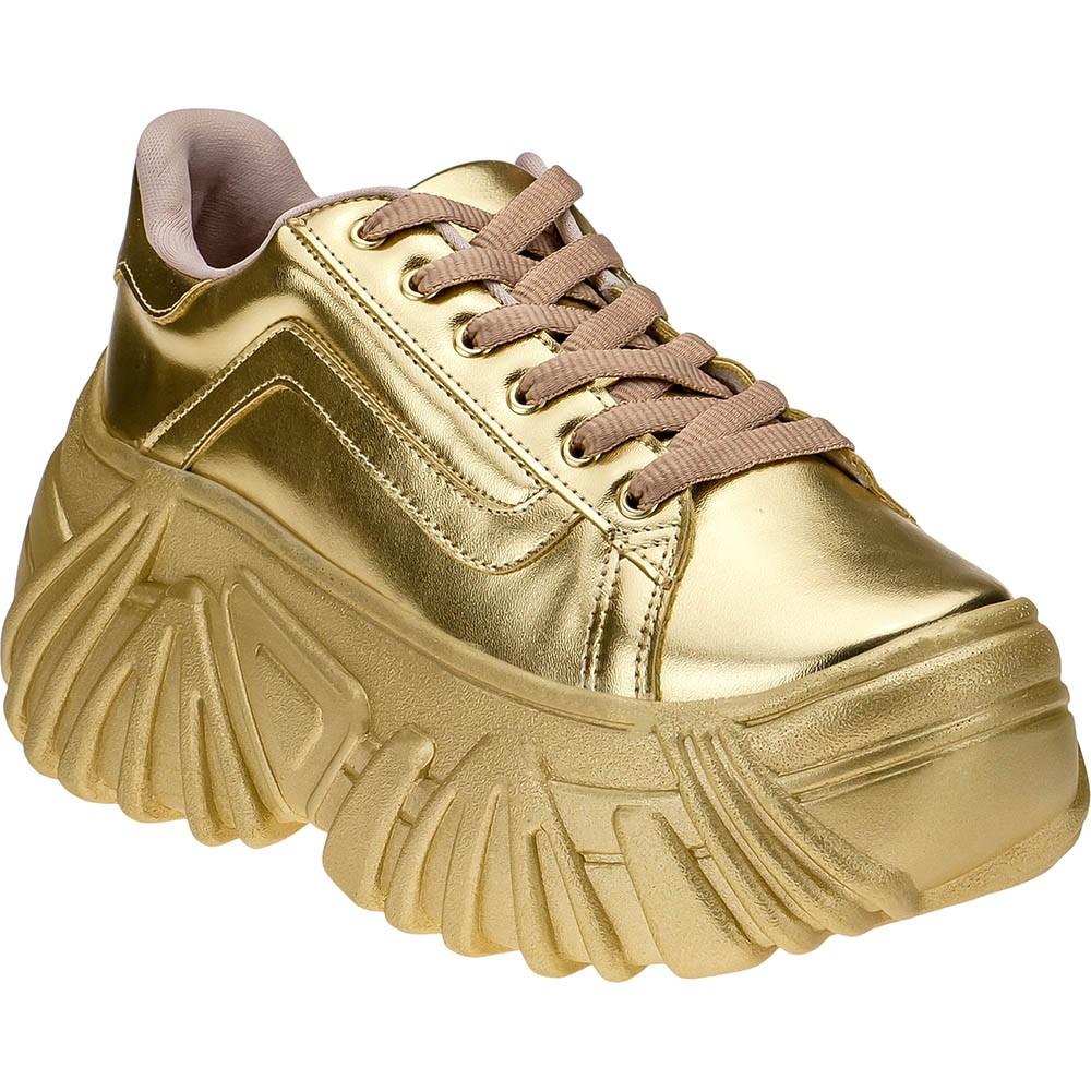 Tênis Buffalo Domidona Plataforma Alto Confortável Feminino 140.01.033 | Dourado