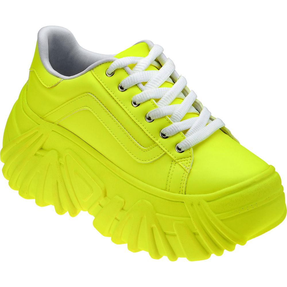 Tênis Buffalo Domidona Plataforma Alto Confortável Feminino 140.01.097 | Amarelo Neon
