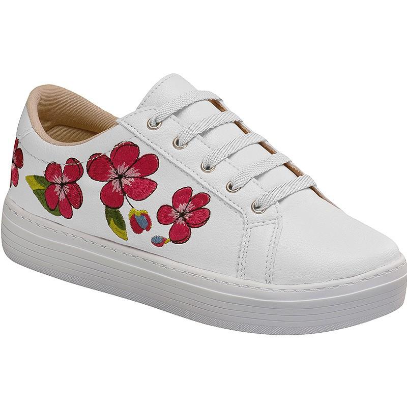 Tênis Casual Adulto Estampa de Flores 111.04.001 | Branco