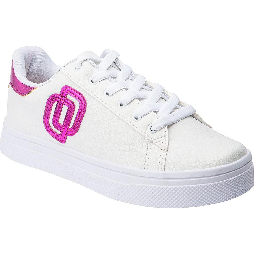 Tênis Casual Feminino Domidona Jogging 3D 142.03.144 | Branco Com Pink