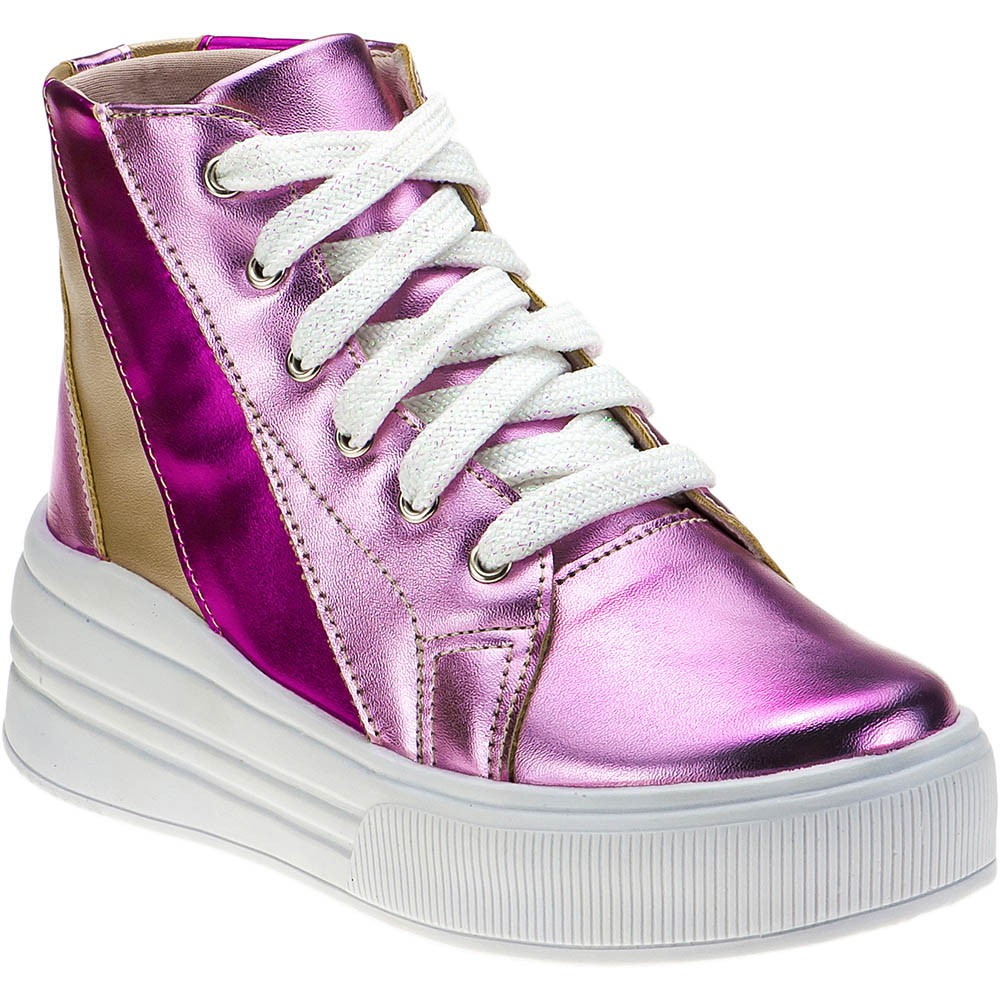 Tênis Casual Infantil Metalizado Menina Fashion Cano Alto 145.27.003   Pink