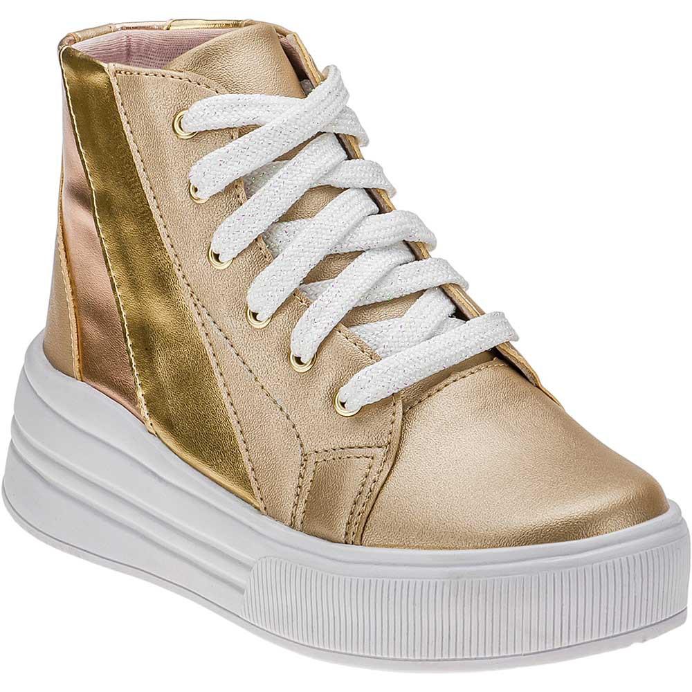 Tênis Casual Infantil Metalizado Menina Fashion Cano Alto 145.27.033 | Dourado