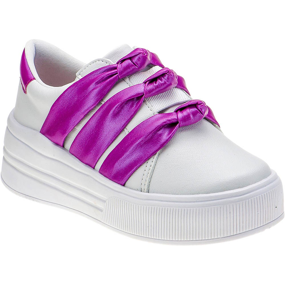 Tênis Casual Plataforma Infantil Menina Laço Nó 145.28.093 | Branco/Pink