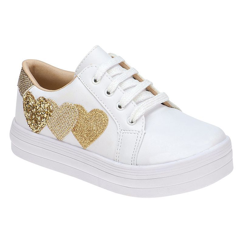 Tenis Corações Menina Fashion Brilho 155.121.001 | Branco