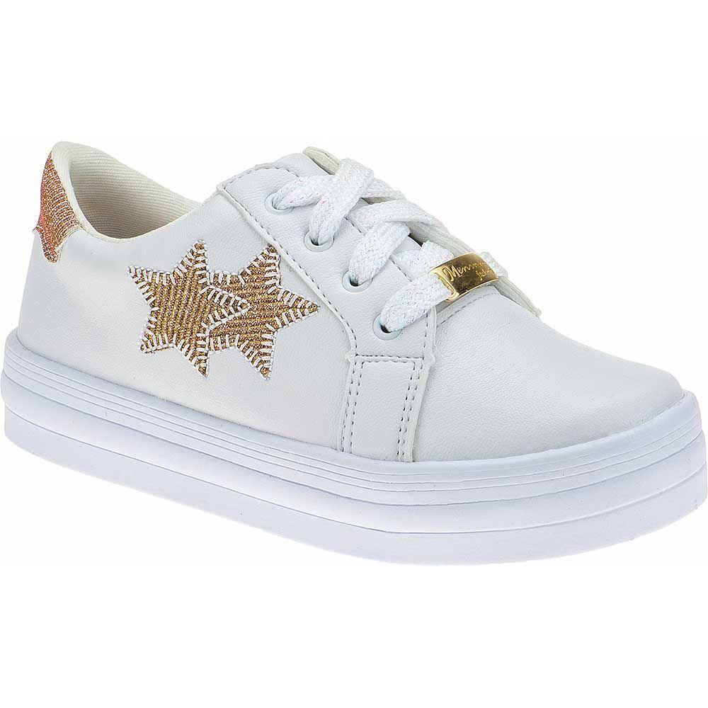 Tenis Estrelas Menina Fashion Cadarço Brilho 155.206.001 | Branco