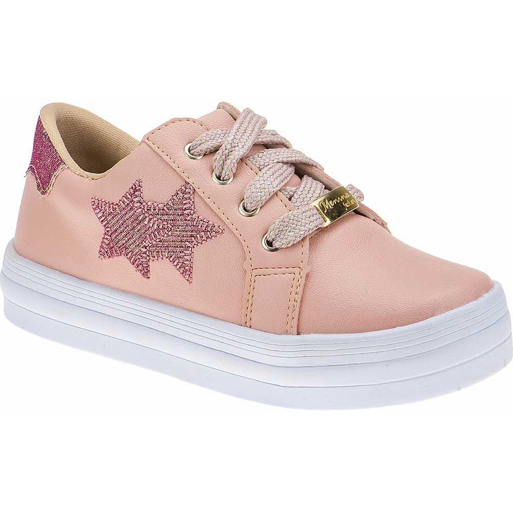 Tenis Estrelas Menina Fashion Cadarço Brilho 155.206.041 | Nude