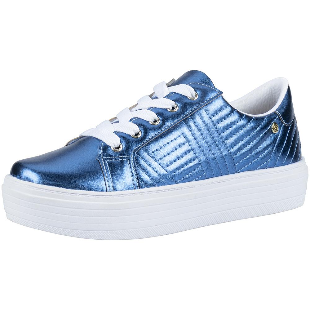 Tênis Feminino Casual Matelassê Flatform 111.48.048   Azul