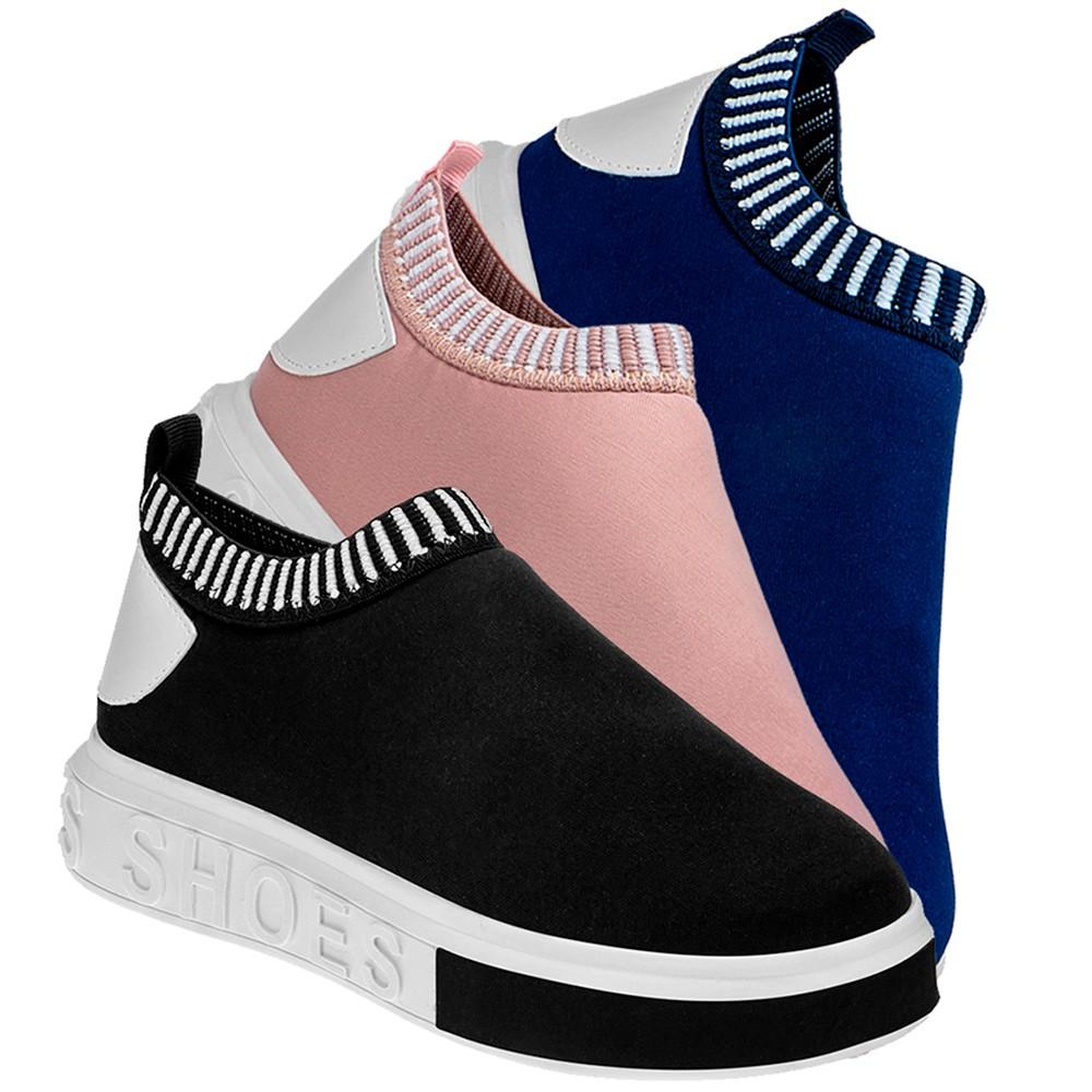 Tênis Feminino Domidona Casual Meia Calce Fácil It Shoes Arz Kit 03 Pares 111.47
