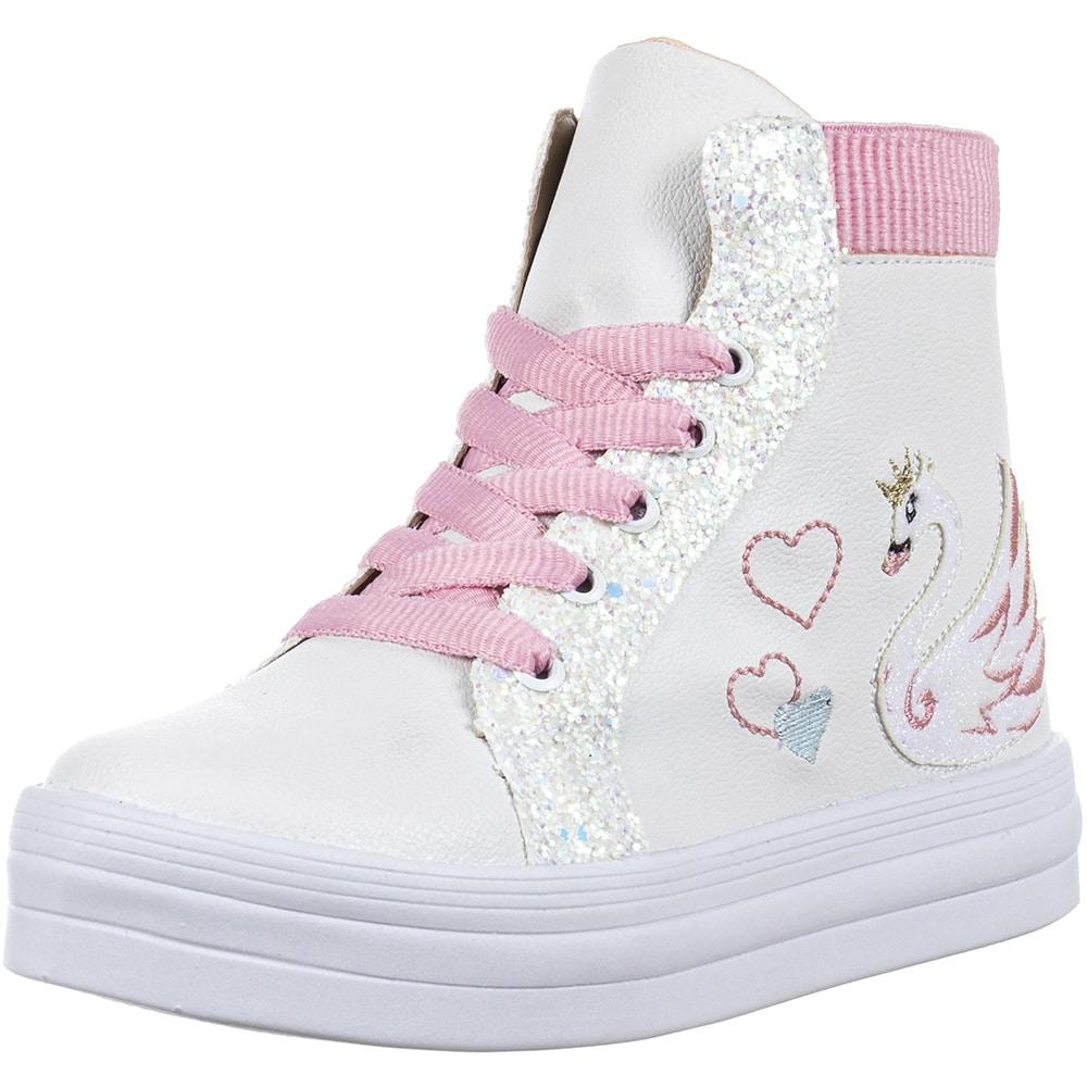Tênis Infantil Cano Alto Bordado Cisne Coração Glitter Menina Fashion 155.238.001   Branco