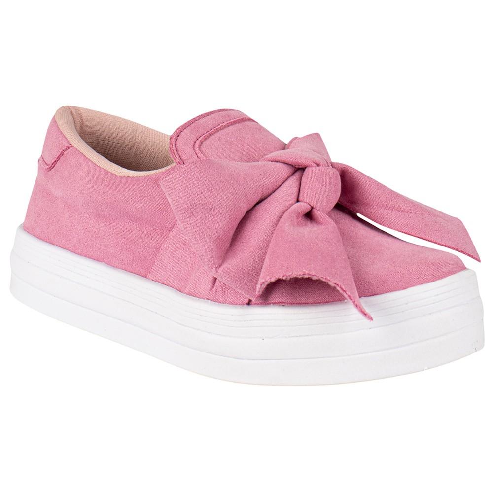 Tênis Infantil Elástico Laço Menina Fashion Casual Flat 155.219.003   Pink