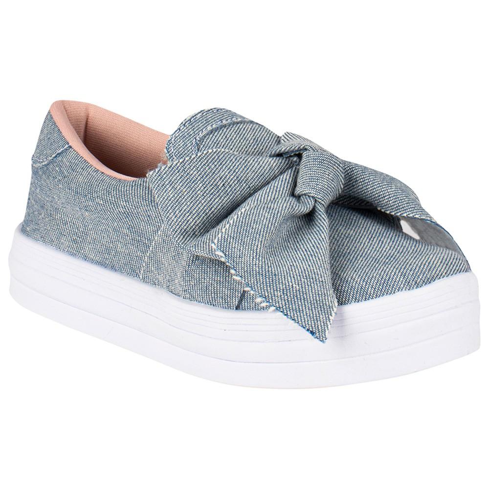 Tênis Infantil Elástico Laço Menina Fashion Casual Flat 155.219.031   Jeans Azul