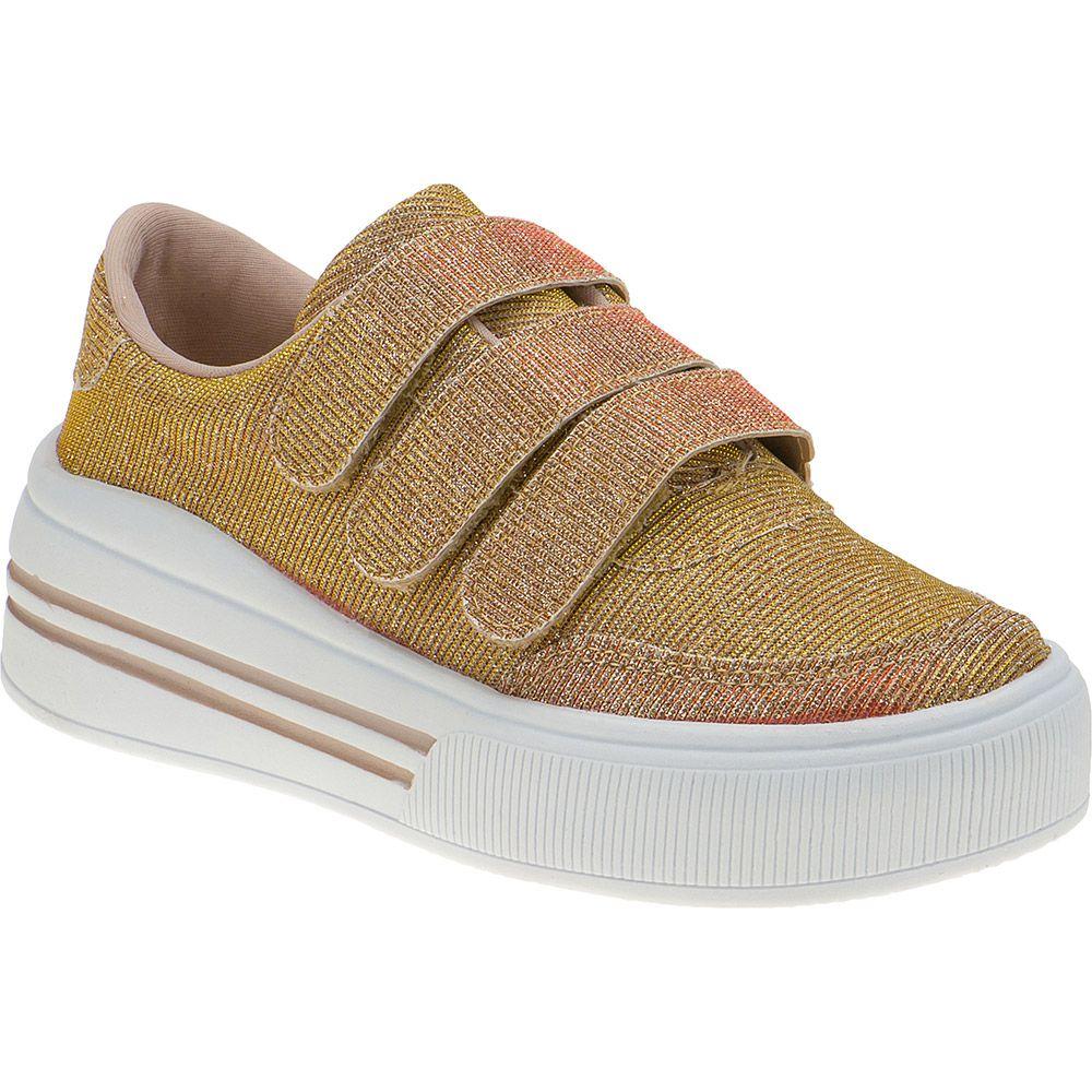 Tênis Infantil Feminino Menina Fashion Velcro com Glitter 145.09 | Dourado