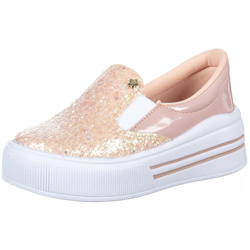 Tênis Infantil Feminino Slip On Glitter Calce Fácil Menina Fashion 145.46.002   Rosa