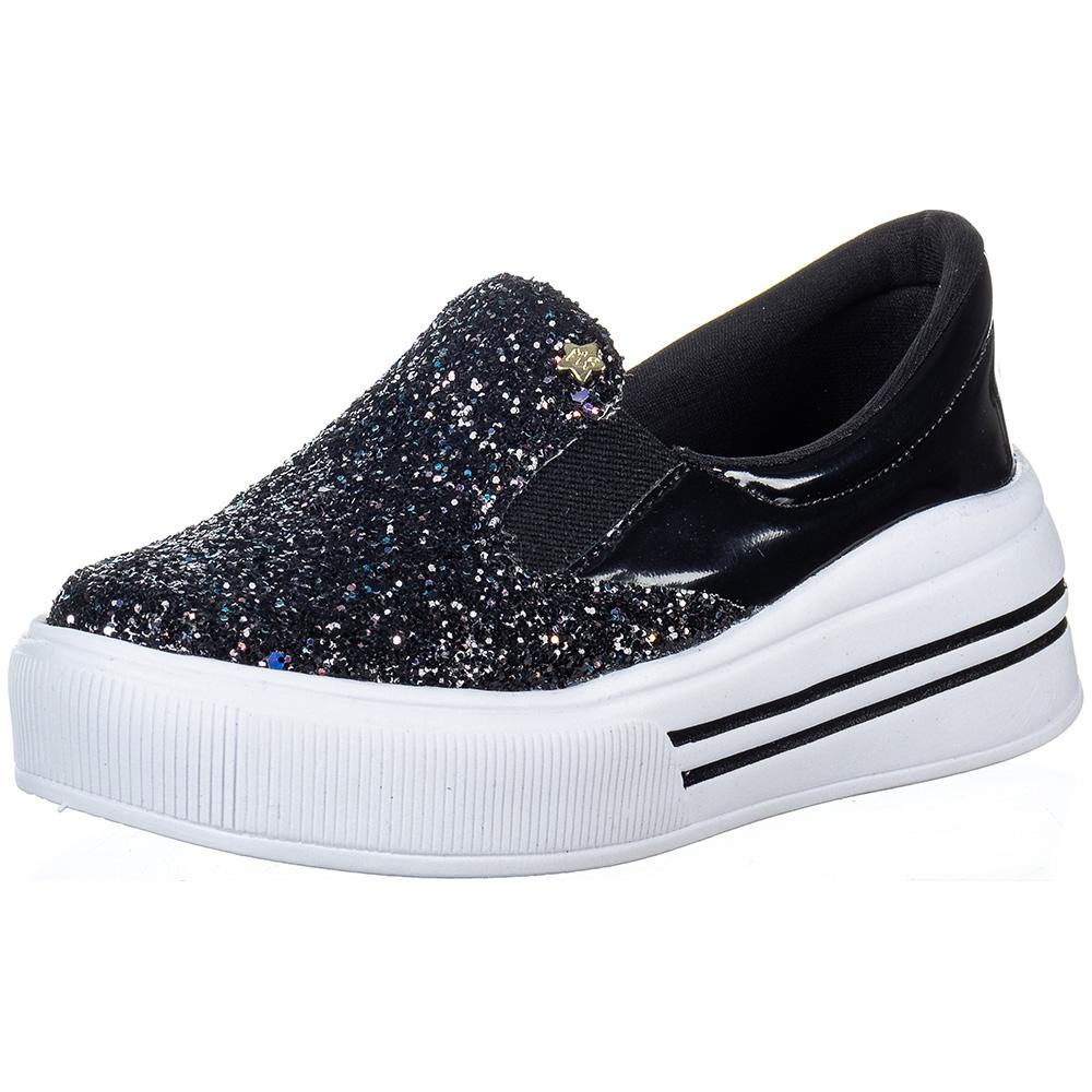 Tênis Infantil Feminino Slip On Glitter Calce Fácil Menina Fashion 145.46.009 | Preto