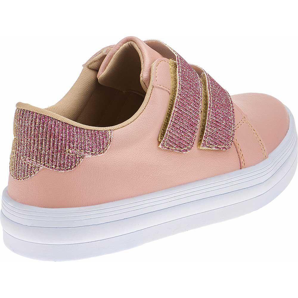 Tênis Infantil Menina Fashion Feminino Velcro Glitter 155.210.041 | Nude