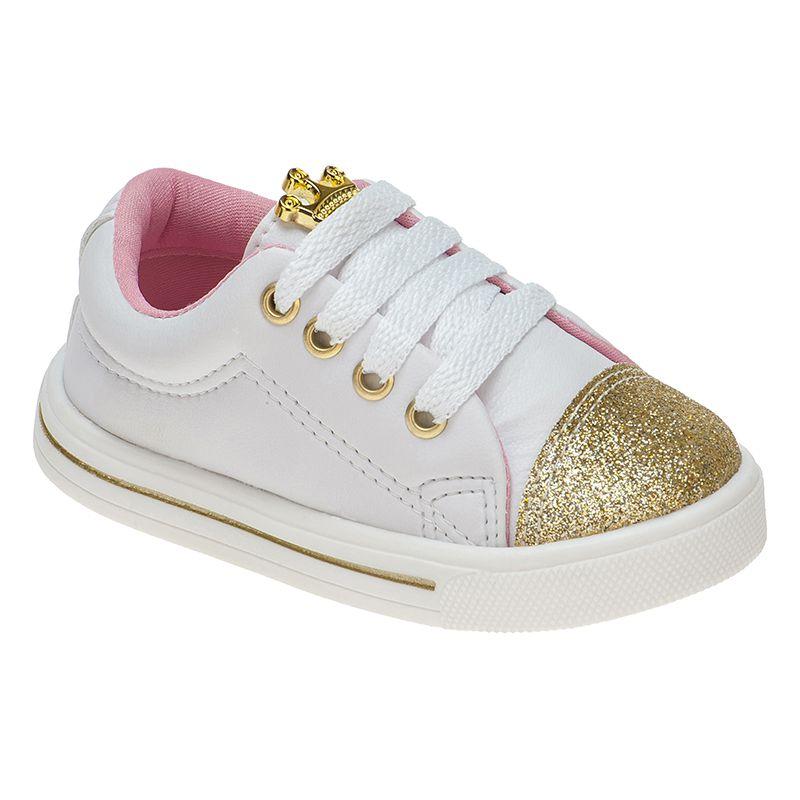 Tênis Menina Fashion Bebê Elástico Princesa 157.17.001 | Branco