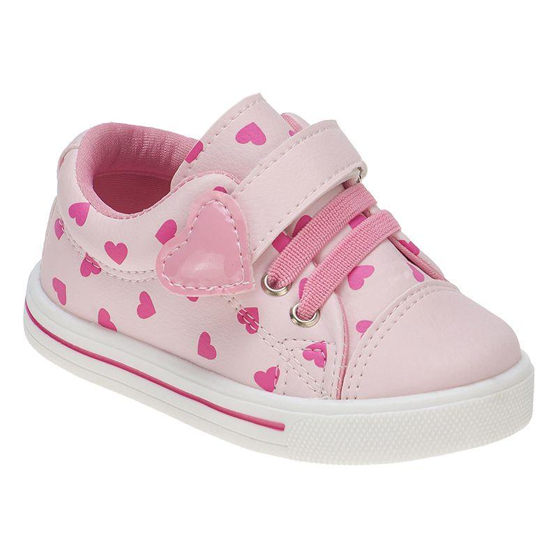 Tênis Menina Fashion Bebê Velcro Elástico Coração 157.21.002 | Rosa