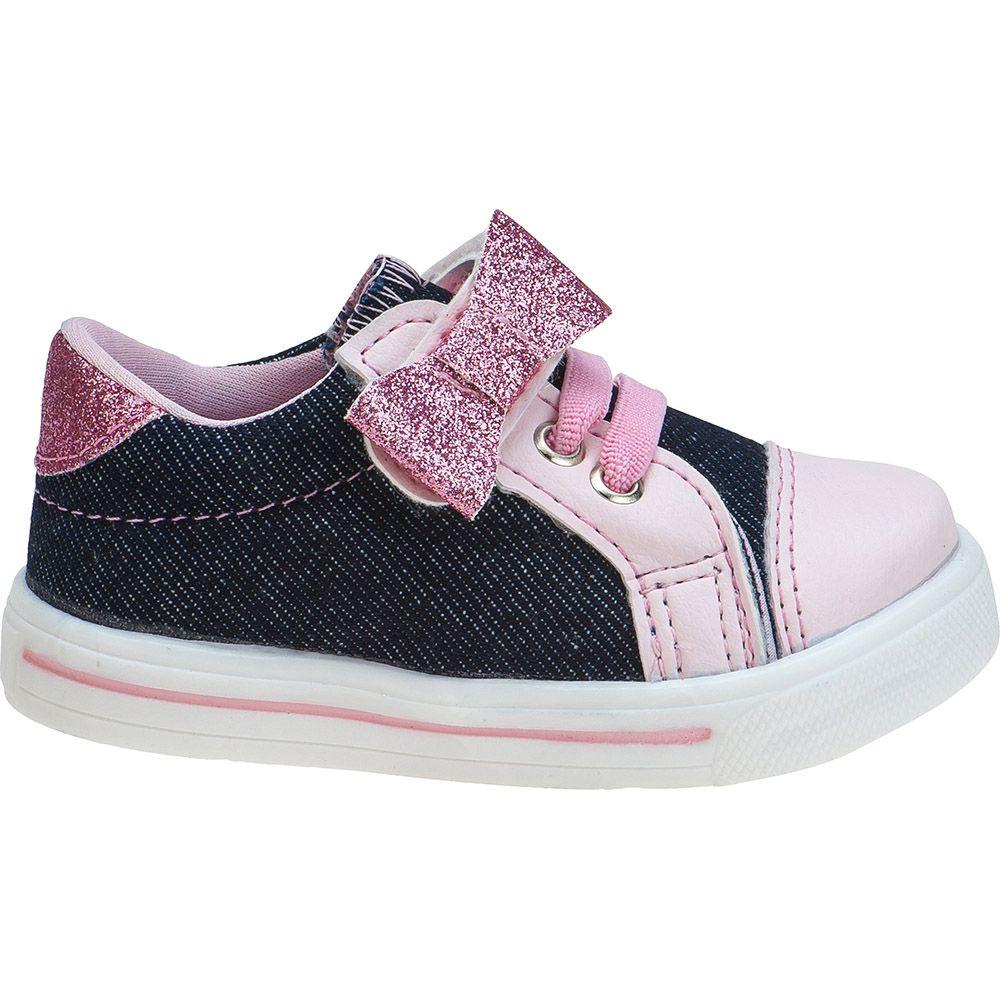 Tênis Menina Fashion Bebê Velcro Elástico Laço Rosa 157.34.031 | Jeans com Rosa