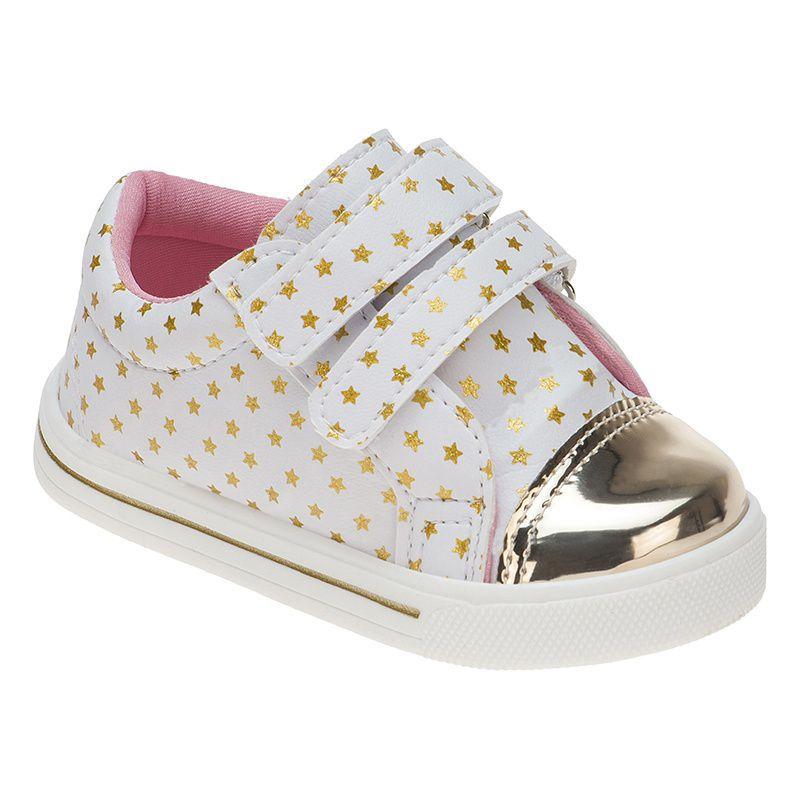 Tênis Menina Fashion Bebê Velcro Estrelas 157.19.001   Branco