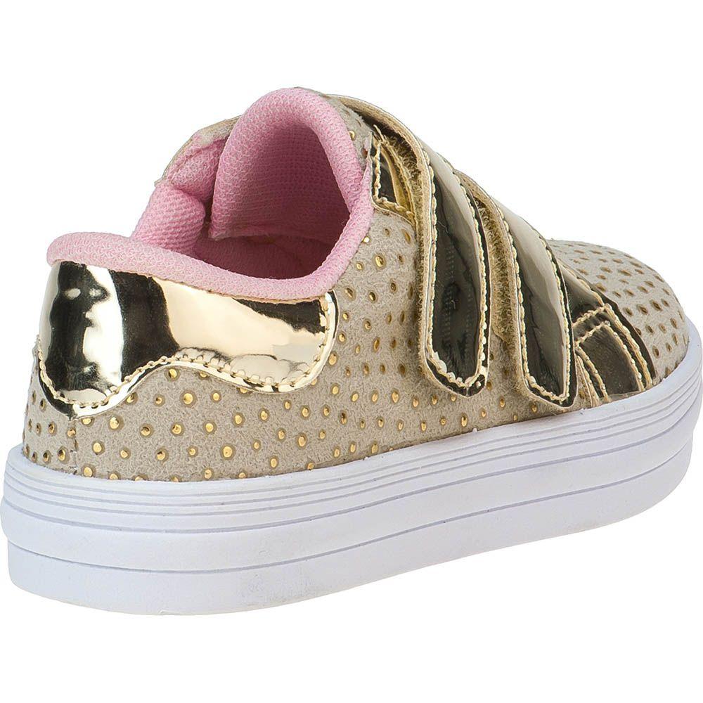 Tênis Menina Fashion Infantil Feminino Bebê 157.33.033 | Dourado