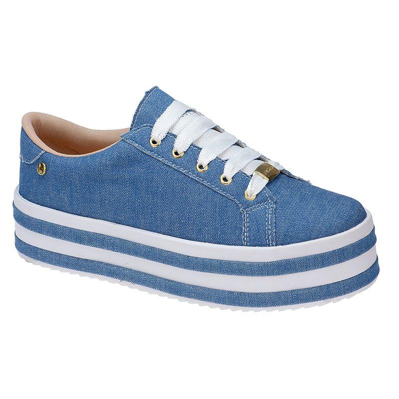 Tênis Plataforma Sola Alta Listrada 124.02.031   Jeans Azul