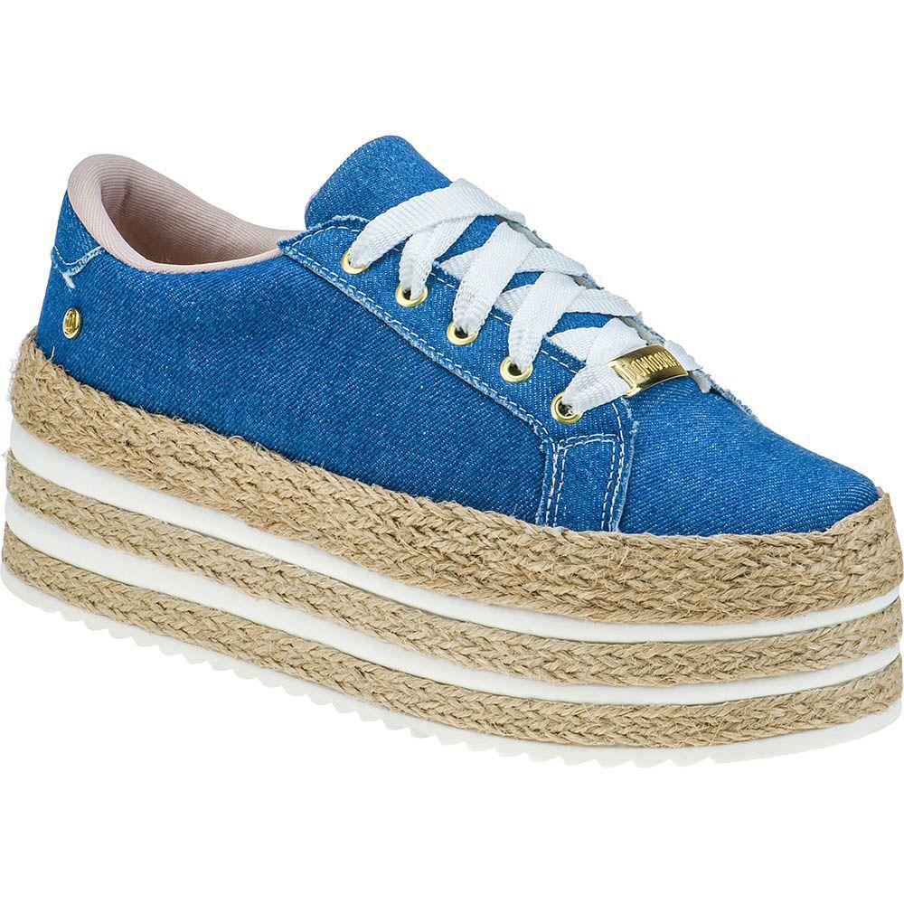 Tênis Plataforma Sola Corda Alta Casual Domidona 133.01.031   Jeans Azul