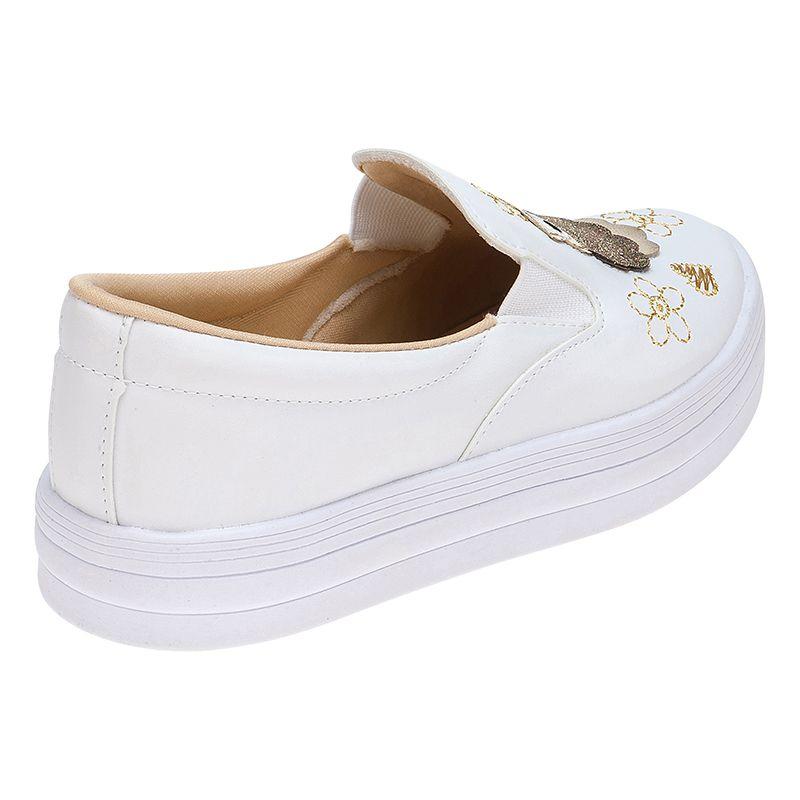 Tenis Slip On Menina Fashion Coruja 155.122.001 | Branco