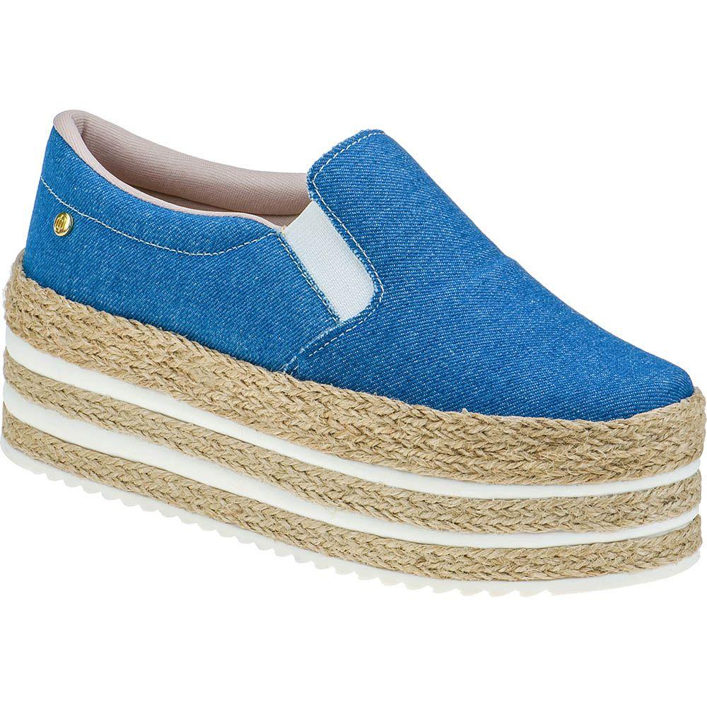 Tênis Slip on Sola Corda Alta Casual Domidona Plataforma 133.02.031 | Jeans Azul