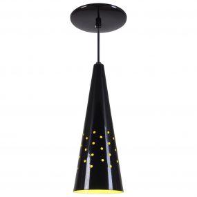Pendente Cone Furado Luminária Lustre Alumínio Preto Brilhante C/ Amarelo - Rei Da Iluminação