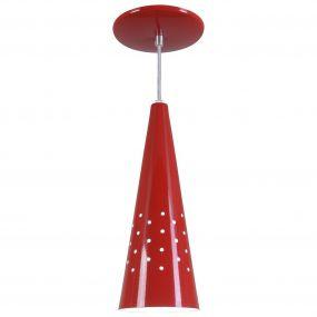 Pendente Cone Furado Luminária Lustre Alumínio Vermelho - Rei Da Iluminação