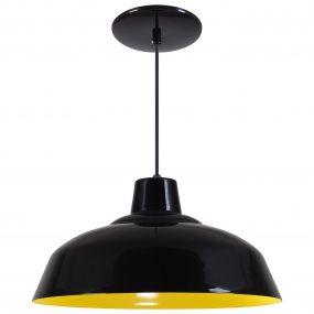 Pendente Retrô 34cm Luminária Lustre Alumínio Preto Brilhante C/ Amarelo - Rei Da Iluminação