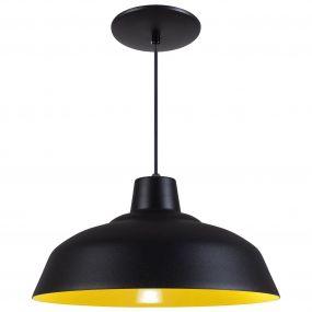 Pendente Retrô 34cm Luminária Lustre Alumínio Preto Textura C/ Amarelo - Rei Da Iluminação