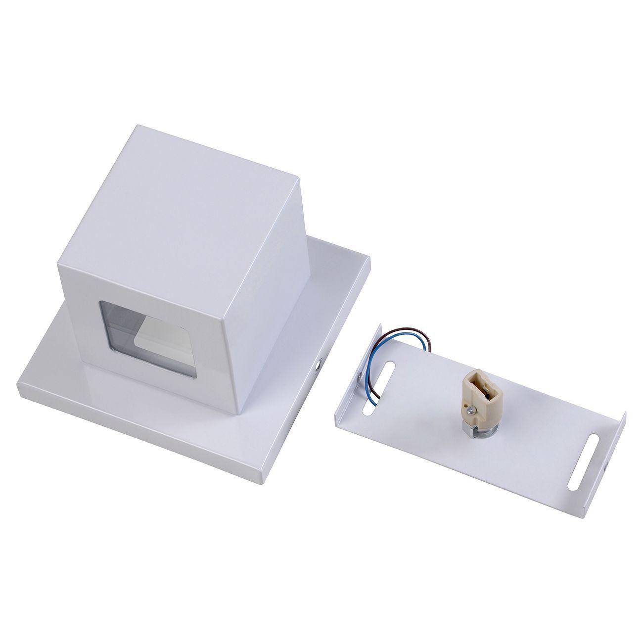 Arandela Box 2 Focos Luminária Externa Interna Muro Parede Alumínio Branco - Rei da Iluminação