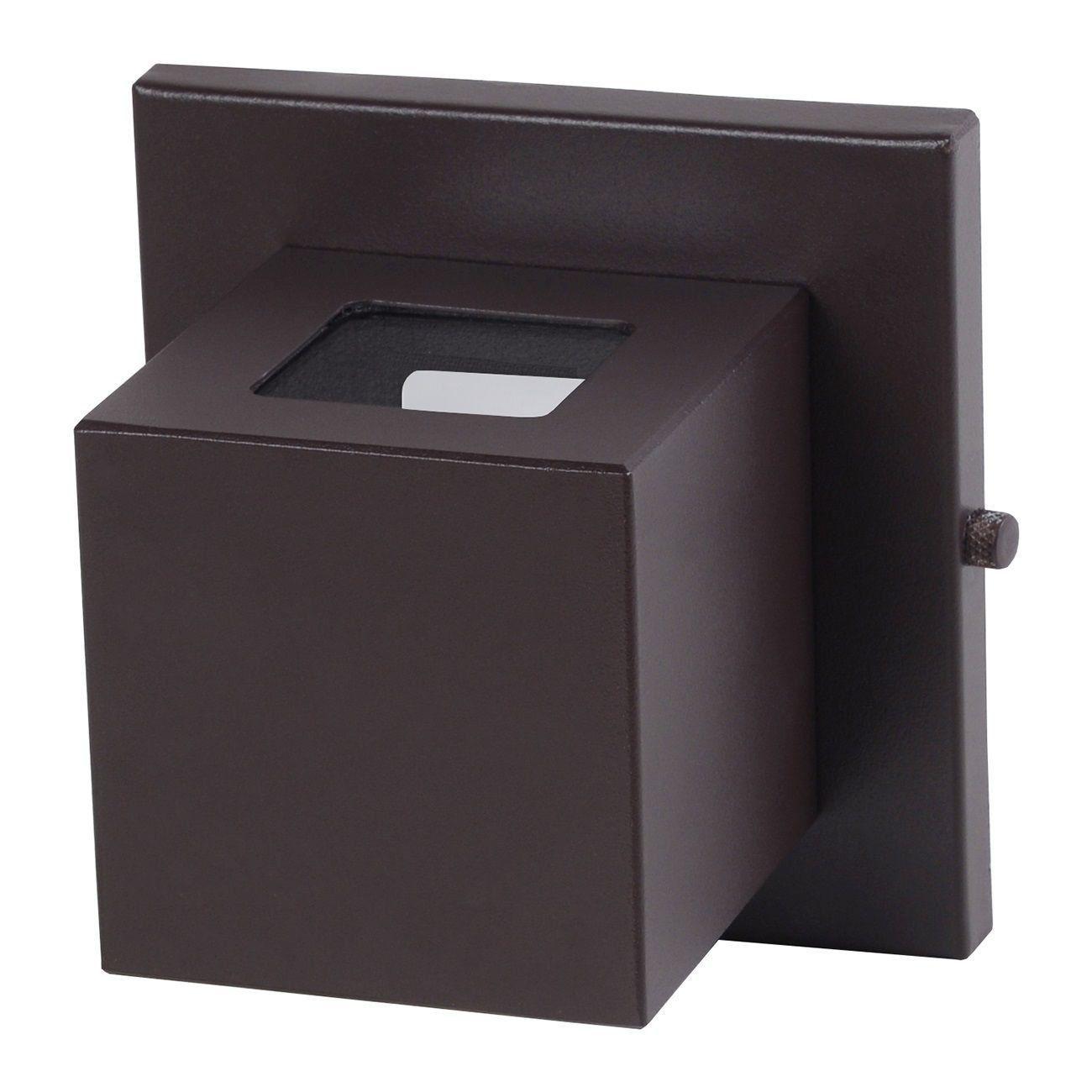 Arandela Box 2 Focos Luminária Externa Interna Muro Parede Alumínio Marrom - Rei da Iluminação
