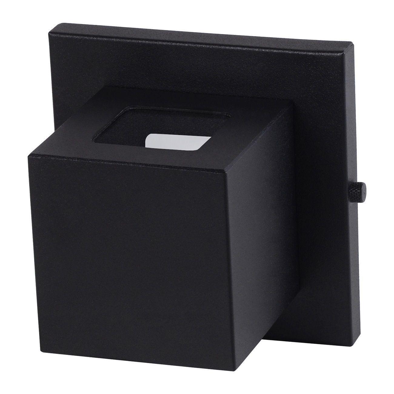 Arandela Box 2 Focos Luminária Externa Interna Muro Parede Alumínio Preto - Rei da Iluminação