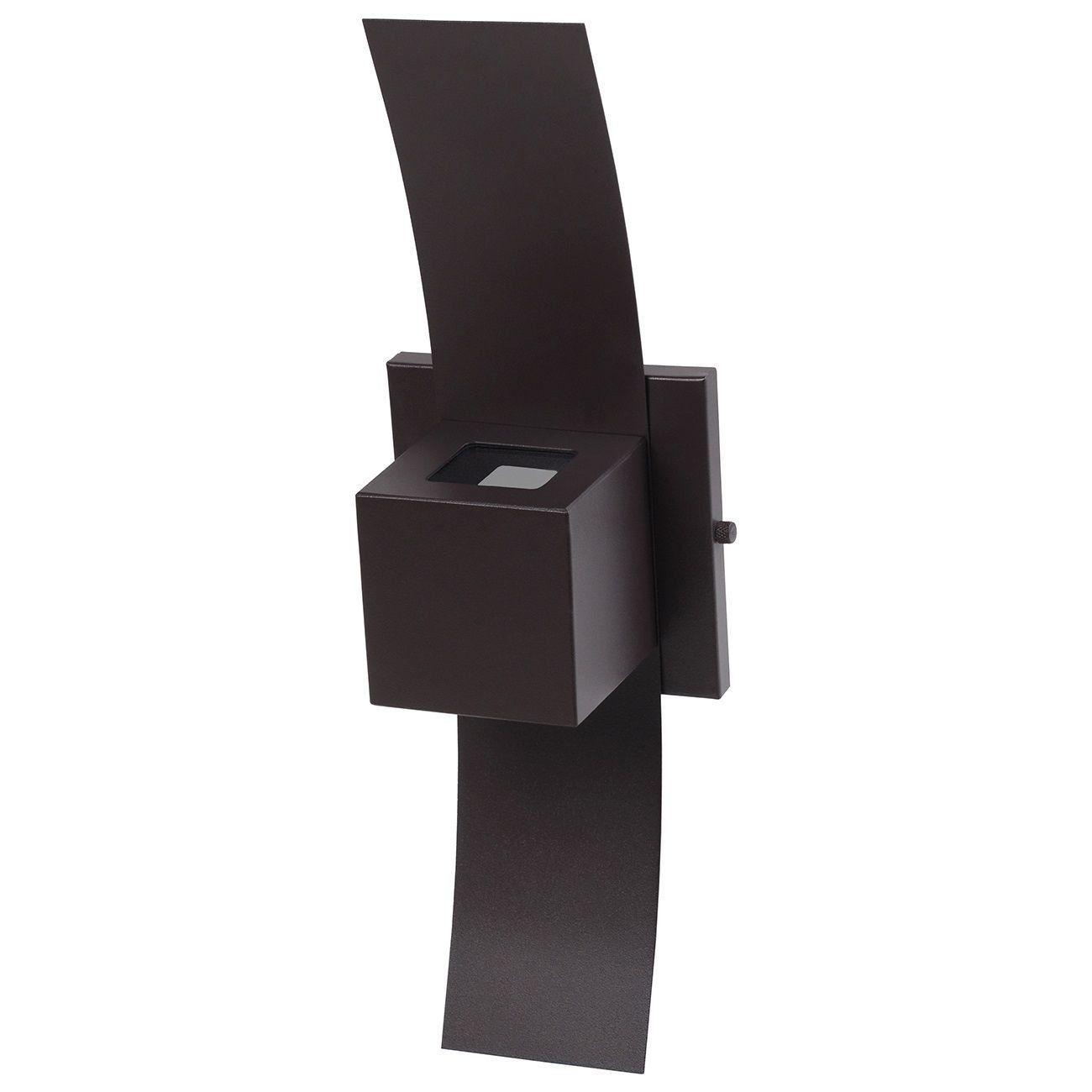 Arandela Box com Aba 2 Focos Luminária Externa Interna Muro Parede Alumínio Marrom - Rei da Iluminação