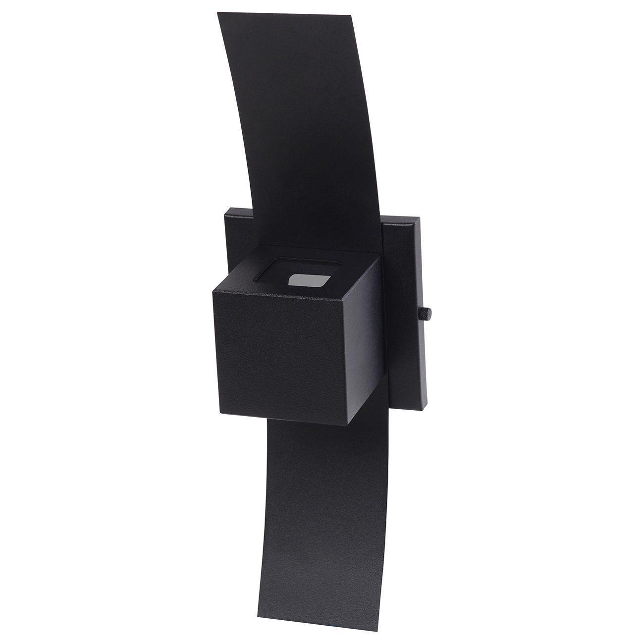 Arandela Box com Aba 2 Focos Luminária Externa Interna Muro Parede Alumínio Preto - Rei da Iluminação