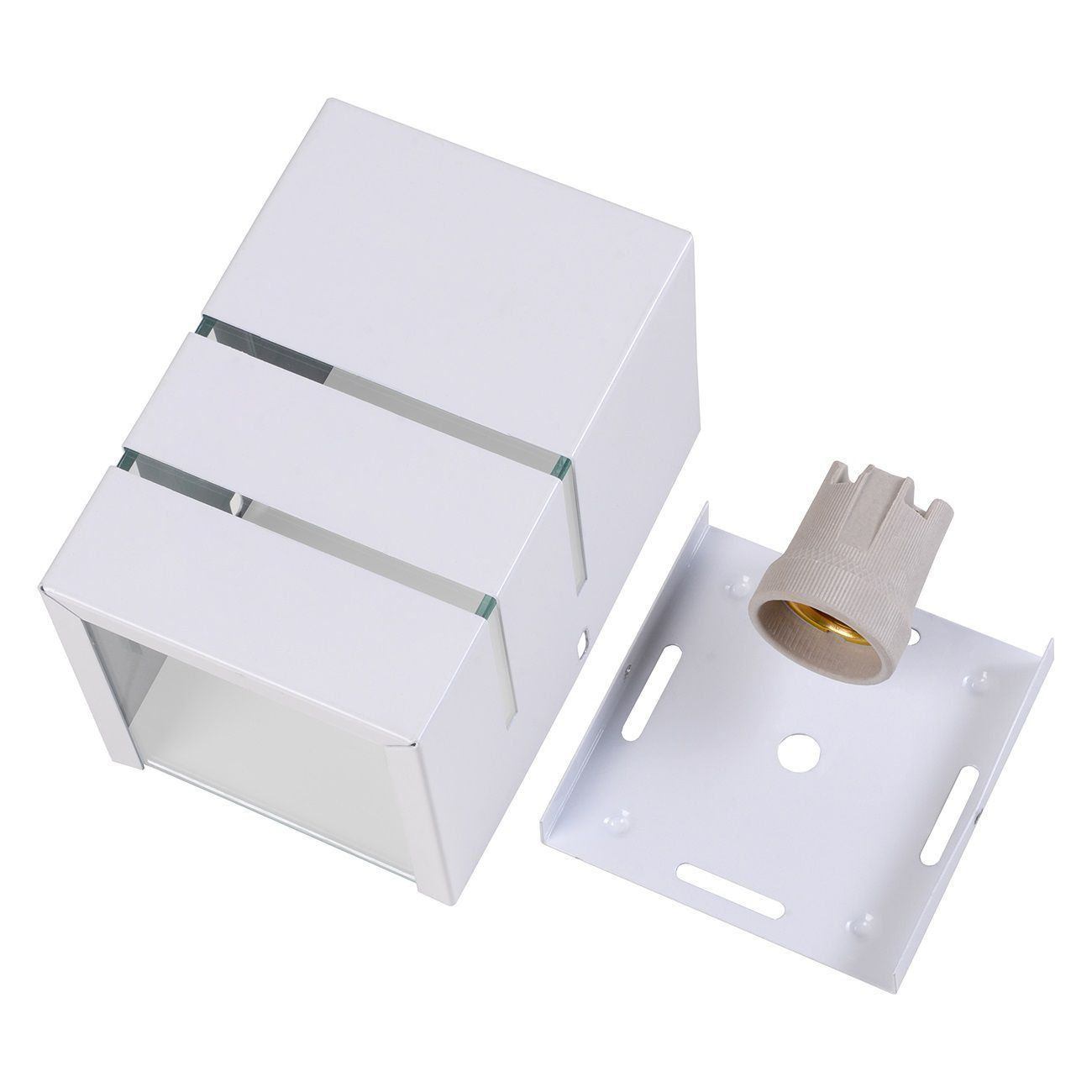 Arandela Catarina 10cm 1 Facho 2 Frisos Externa Interna Muro Parede Alumínio Branco - Rei da Iluminação