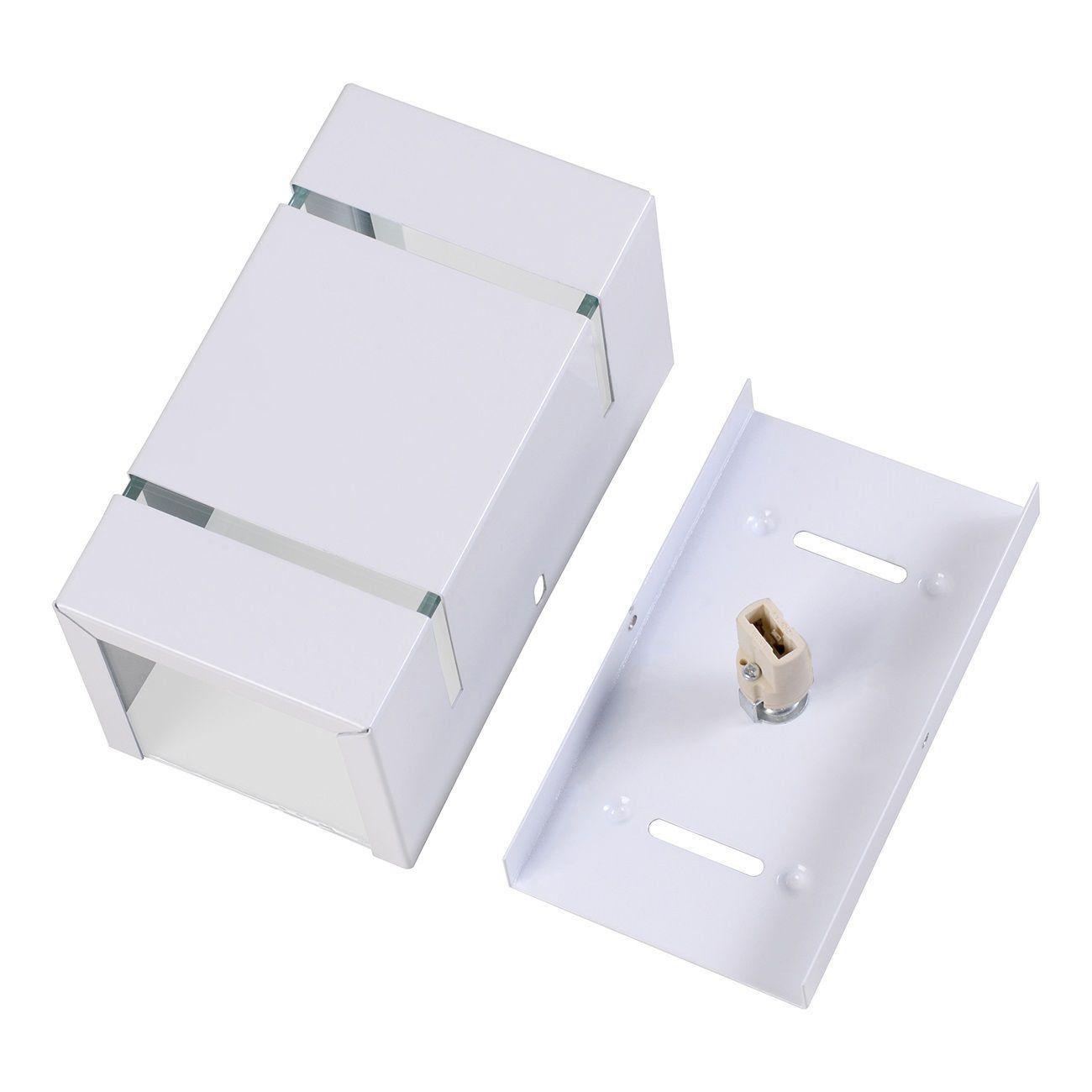Arandela Catarina 8cm 2 Fachos Frisos Externa Interna Muro Parede Alumínio Branco - Rei da Iluminação